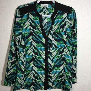 Calvin Klein Long Sleeve V-neck Button down Blouse